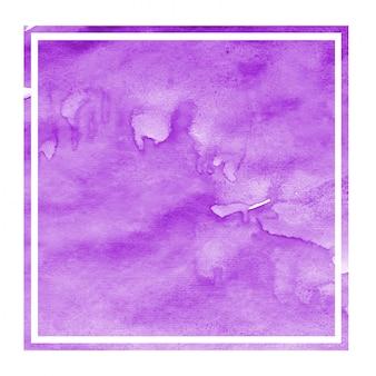 Dibujado a mano púrpura acuarela rectangular marco textura de fondo con manchas