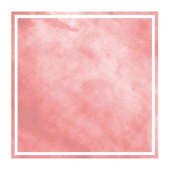 Dibujado a mano rojo acuarela marco rectangular textura de fondo con manchas
