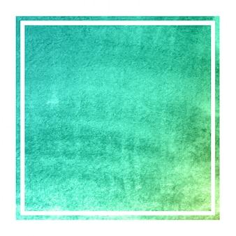 Dibujado a mano turquesa acuarela marco rectangular