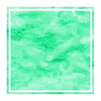 Dibujado a mano turquesa acuarela textura de fondo de marco rectangular con manchas
