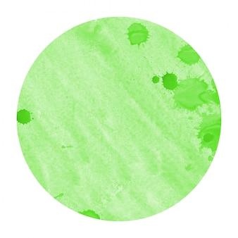 Dibujado a mano verde acuarela marco circular textura de fondo con manchas