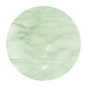 Dibujado a mano verde oscuro acuarela marco circular textura de fondo con manchas