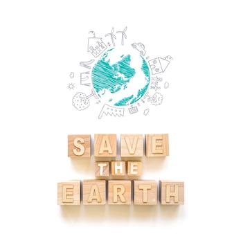 Dibujado planeta y palabras salvar la tierra