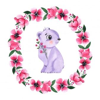 Dibujo acuarela animal oso entre marco floral redondo.