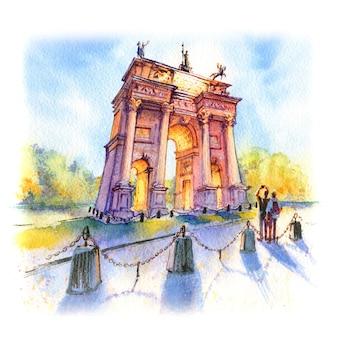 Dibujo acuarela del arco de la paz, puerta de la ciudad en el casco antiguo de milán en un día soleado, lombardia, italia.
