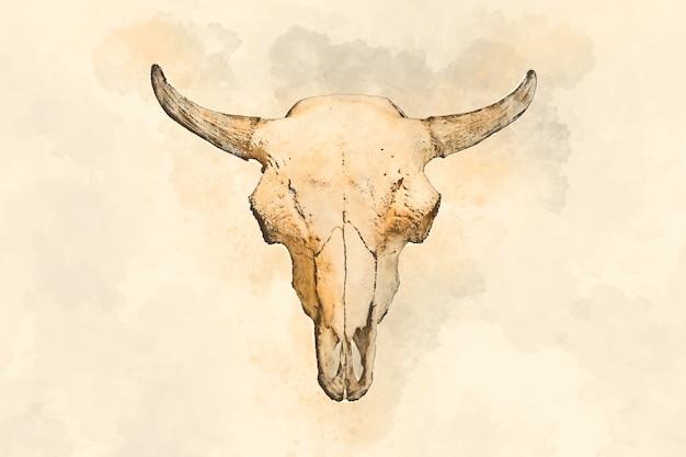 Dibujo de acuarela de una cabeza de toro sobre un fondo claro