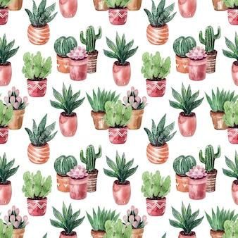 Dibujo acuarela colección de cactus en macetas de patrones sin fisuras