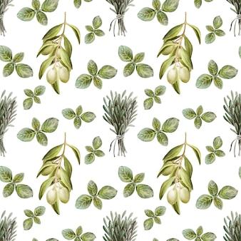 Dibujo acuarela de patrones sin fisuras con hojas, frutos y aceite de oliva. aceite y hierbas aromáticas.