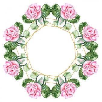 Dibujo acuarela de un ramo de rosas rosadas