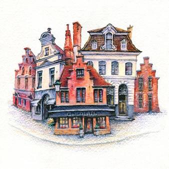 Dibujo acuarela urbano de casa de ladrillo con puerta, byke y windows brujas, bélgica