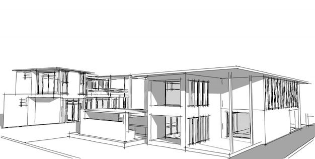 Dibujo arquitectónico abstracto bosquejo, ilustración