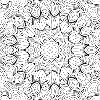 Dibujo para colorear página antiestrés, dibujo de flores simétricas en blanco y negro. fondo floral monocromo. ornamento dibujado a mano con flores, libro para colorear relajante. rizos mandala dibujo meditativo