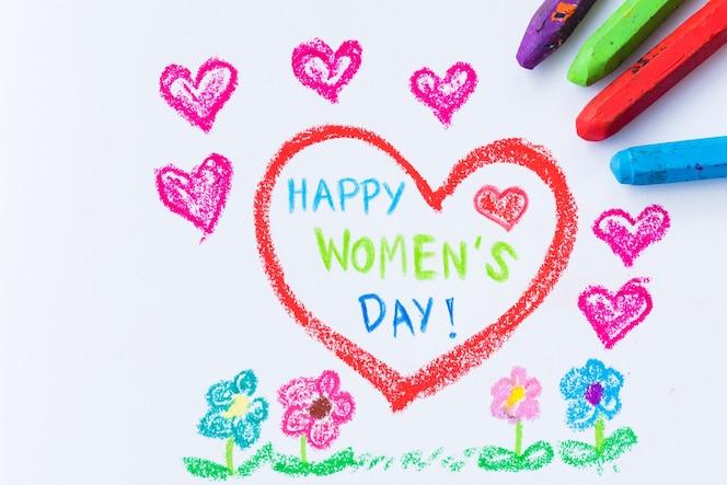 Dibujo de lápiz a color feliz día de la mujer sobre papel blanco