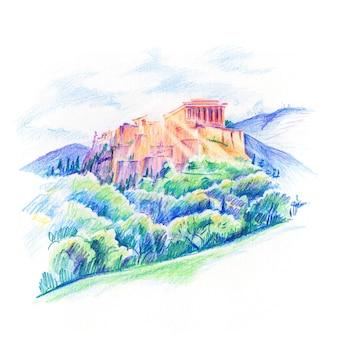 Dibujo a lápiz de color de la colina de la acrópolis y el partenón en atenas, grecia