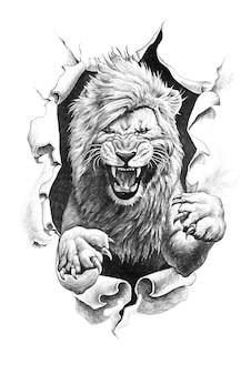 Dibujo a lápiz de un león