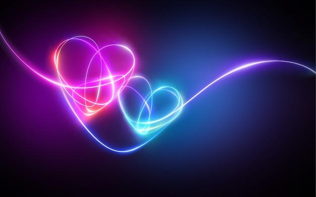 Dibujo de luz de neón azul rosa, corazones unidos