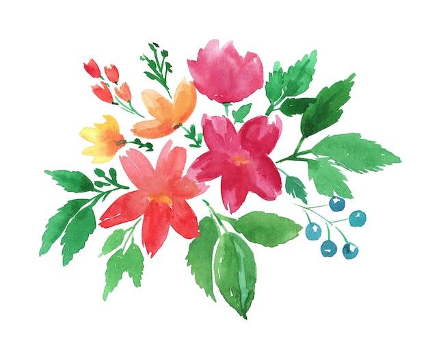 Dibujo a mano alzada, ilustración floral acuarela boho con flores rojas, naranjas, amarillas, bayas azules y hojas verdes.
