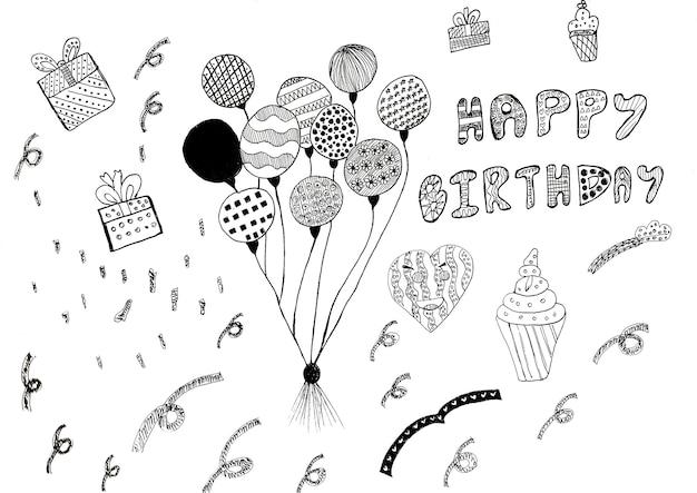 Dibujo a mano de palabras de feliz cumpleaños