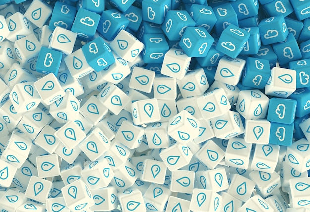 Dibujo de muchos cubos dispersos con iconos de nubes sobre un fondo azul