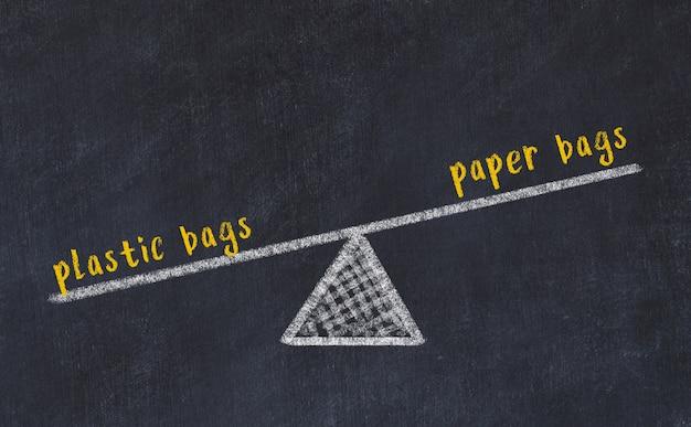 Dibujo de pizarra de escalas. concepto de equilibrio entre bolsas de papel y bolsas de plástico.