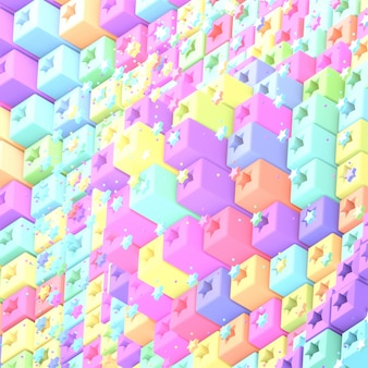 Dibujos animados de cubos de píxeles de arco iris y estrellas imagen renderizada en 3d