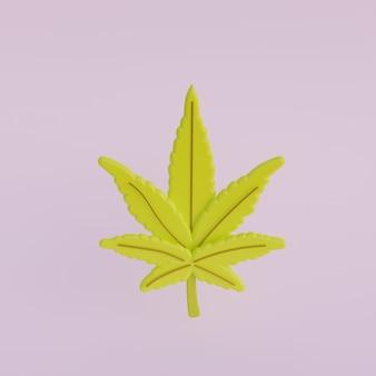 Dibujos animados de hoja de cannabis 3d