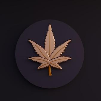 Dibujos animados de hoja de oro 3d de cannabis render ilustración