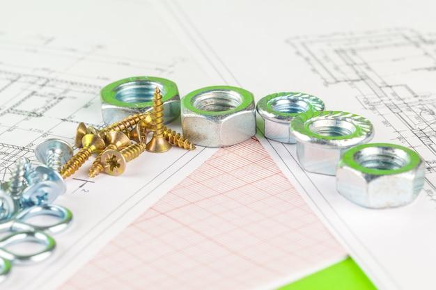 Dibujos técnicos de perno y tuerca. ingeniería, tecnología y metalmecánica.