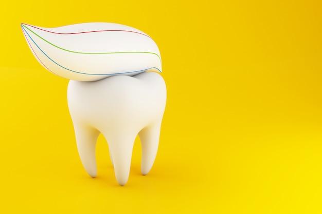 Diente 3d con pasta de dientes.