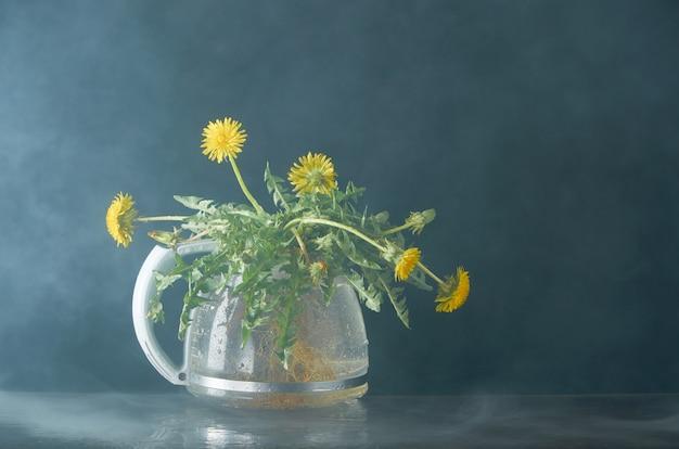 Diente de león con raíces y hojas en una tetera de vidrio
