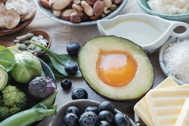 Dieta cetogénica, baja en carbohidratos, alta en grasas, alimentos saludables