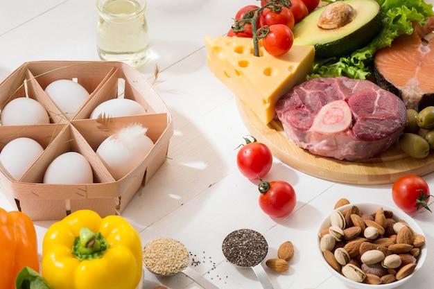 Dieta cetogénica baja en carbohidratos - selección de alimentos en la pared blanca