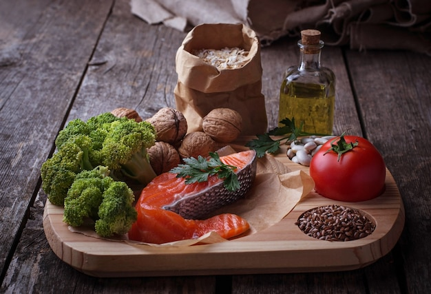 Dieta del colesterol, alimento sano para el corazón. enfoque selectivo