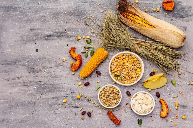 Dieta equilibrada para roedores domésticos. mezcla variada de granos y semillas, hierbas secas, frutas frescas.