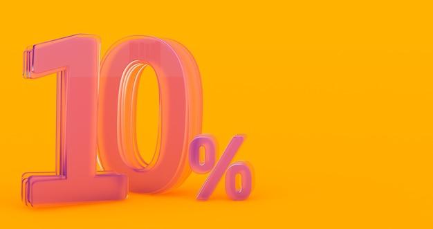 Diez (10) por ciento en vidrio, número de vidrio 3d sobre fondo de banner de color, render 3d
