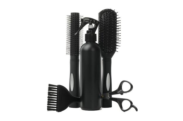 Diferentes accesorios de peluquería aislados