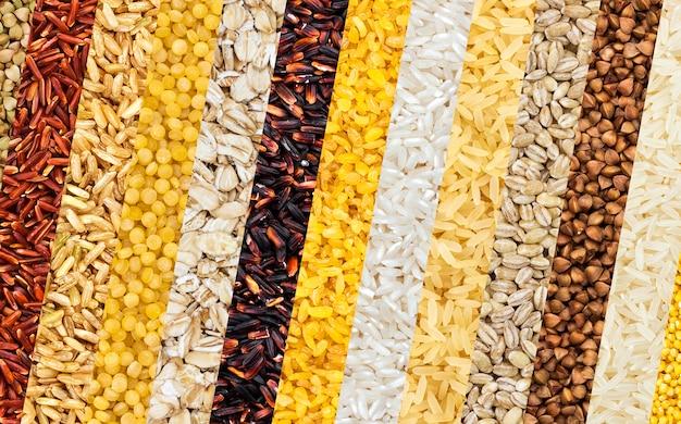 Diferentes cereales, granos, arroz y frijoles.