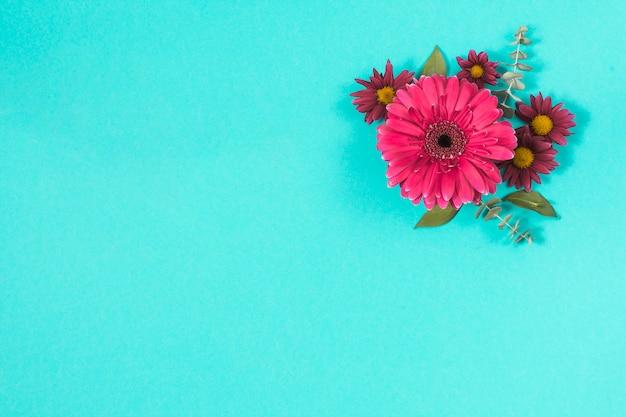 Diferentes flores con hojas en mesa.