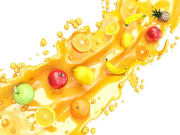 Diferentes frutas y salpicaduras de jugo. jugo multifruta