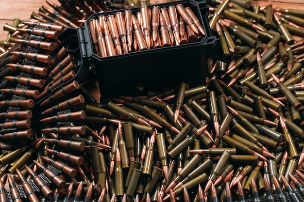 Diferentes municiones en madera.