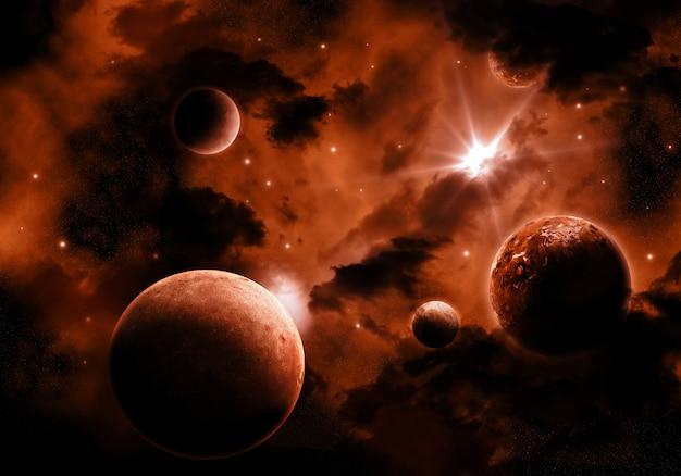 Diferentes planetas en el espacio