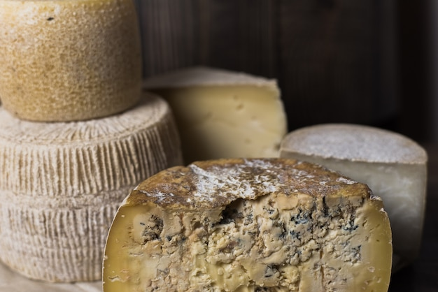 Diferentes quesos caseros. piezas y cabezas de queso de gorgonzola, asiago, maasdam, gauda, paramezan y edam. queso de cabra y vaca sobre papel de horno. trabajo manual. de cerca