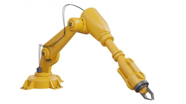 Diferentes robots industriales aislados sobre fondo blanco 3d rendering brazo robótico blanco con espacio en blanco sobre fondo blanco.