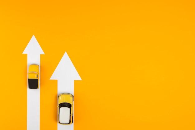 Diferentes rutas para la navegación del automóvil.