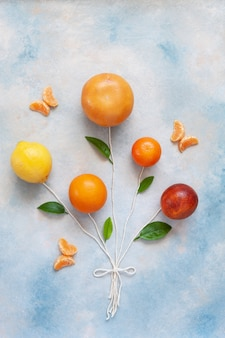 Diferentes tipos de frutas cítricas en forma de globos en cuerdas sobre fondo de cielo azul