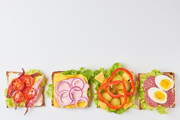 Diferentes tipos de sándwich sobre un fondo blanco, vista desde arriba