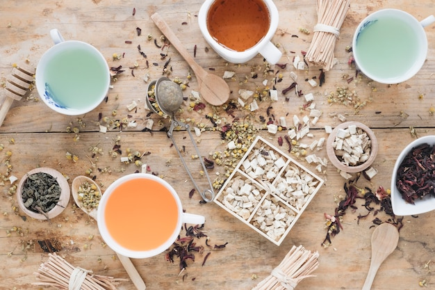 Diferentes tipos de té en taza de cerámica con hierbas y cazo de miel.