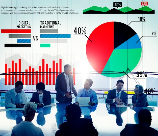 Digital marketing graph statistics análisis finance market conce