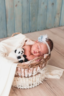 Diminuto bebé durmiendo con juguete en la cesta