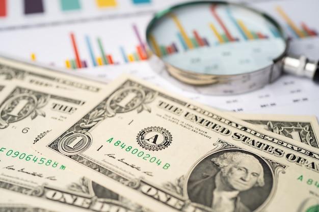 Dinero de billetes de dólar estadounidense en papel cuadriculado.